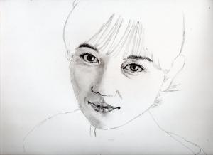 川口春奈の鉛筆画似顔絵途中経過