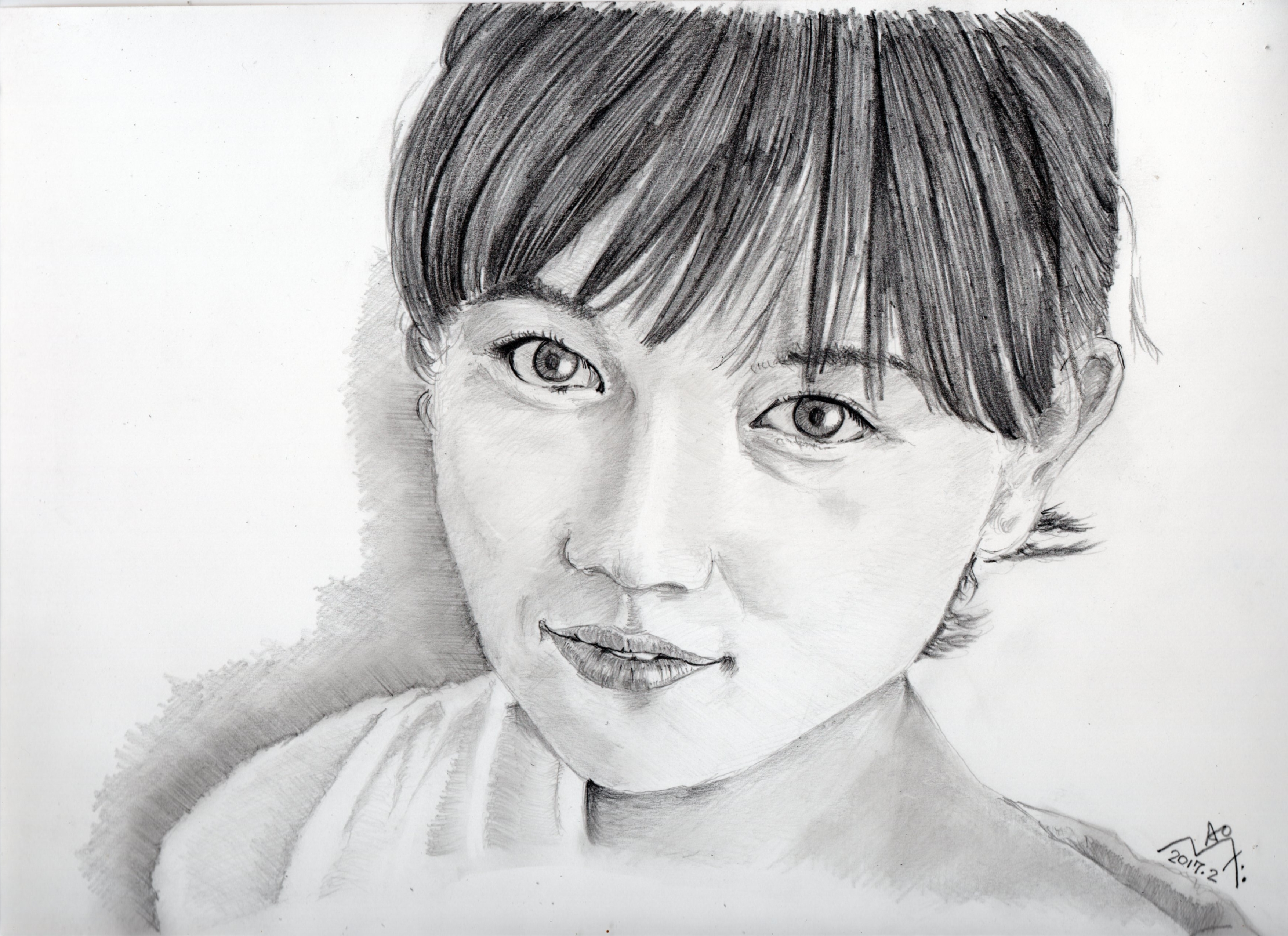 川口春奈の鉛筆画似顔絵