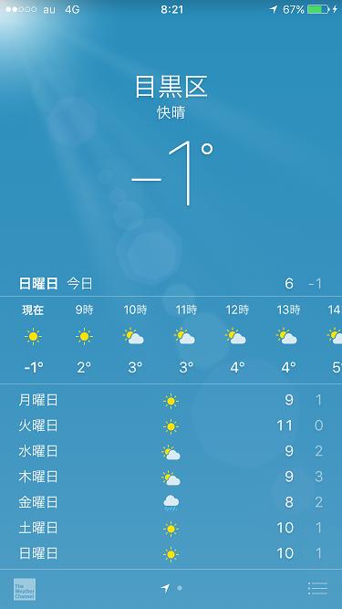 2017年1月15日iPhone天気アプリ by占いとか魔術とか所蔵画像