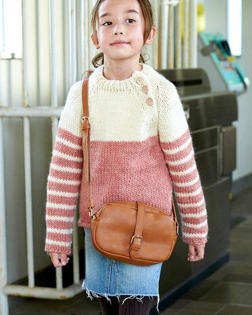 棒針編み手編みペアセーター毛糸ピエロローバー親子ペアボーダーセーター子供