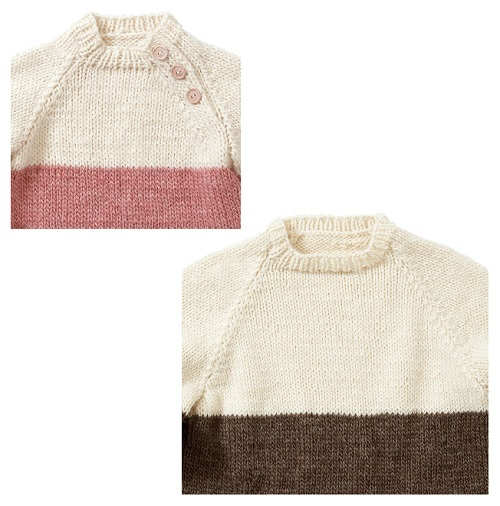 棒針編み手編みペアセーター毛糸ピエロローバー親子ペアボーダーセーター首元