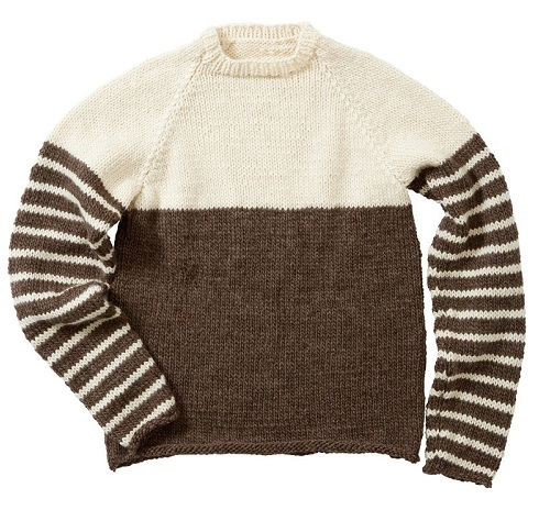 棒針編み手編みペアセーター毛糸ピエロローバー親子ペアボーダーセーター平置き