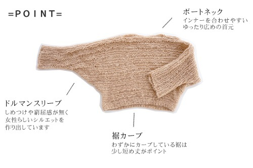 無料編み図楽天zakkaふわりゆるセータ平置き