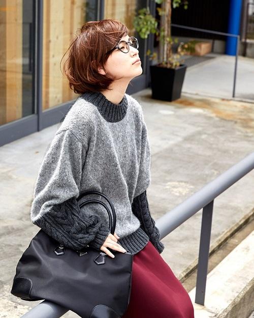 無料編み図プル棒針編み毛糸ピエロニームとソフトメリノ中細切り替えセーター