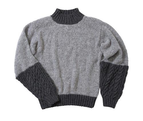 1596ピエロニームとソフトメリノ中細切り替えセーター平置き