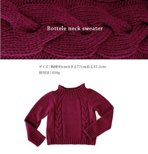 無料編み図棒針編みレーヌボトルネックセーター