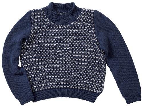 zakkaソミュールプラスイギリスゴム編みのセーター平置き