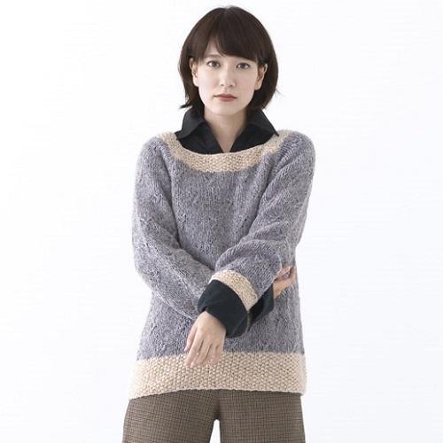 棒針編み無料編み図ホイップスラグランスリーブセーター1