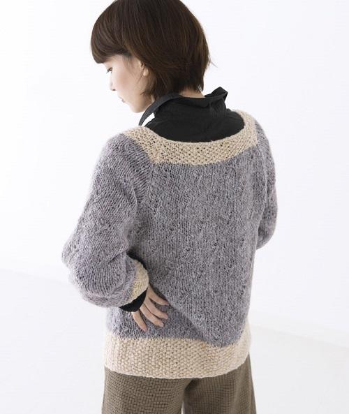 棒針編み無料編み図ピエロホイップスラグランスリーブセーター2