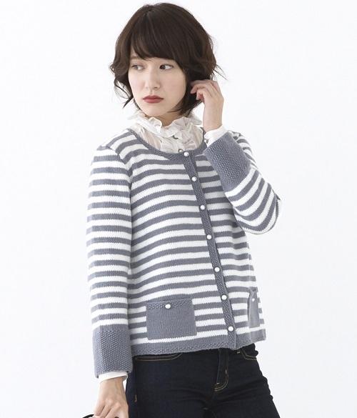棒針編みカーディガン手編み毛糸ピエロ楽天ファインメリノカーディガン
