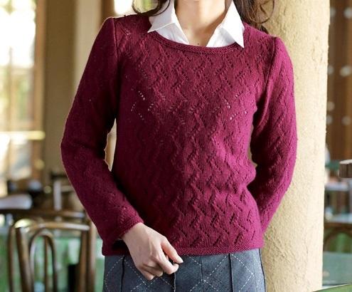 棒針編み無料編み図毛糸zakkaカシミヤバルファ糸替えアスペンセーター