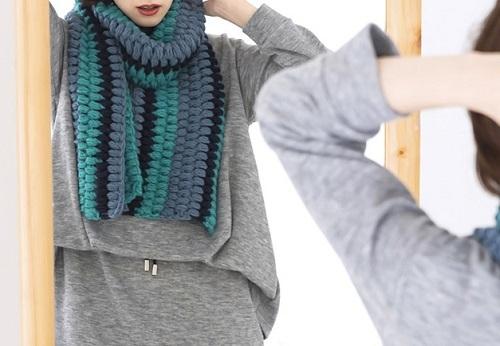 1656zakkaノルディック玉編みのマフラー