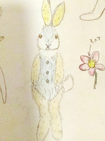 No.0003実験ウサギのラフスケッチ