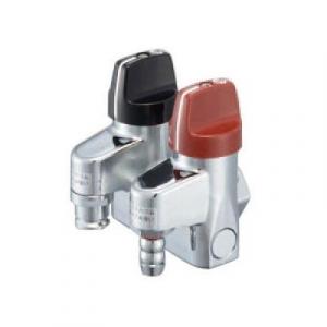 ガス栓の二股タイプでホースエンド型とコンセント型