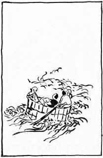 「東海道山すじ日記」大井川の盥渡し図