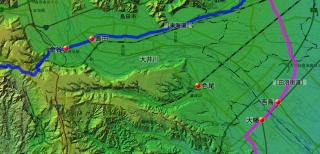 大井川の主な下瀬越えの位置