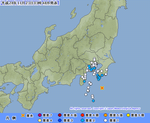 関東地方で最大震度2の地震発生 M4.6 震源地は房総半島南方沖 深さ約110km