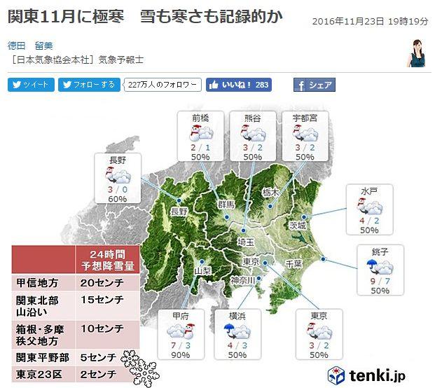 【極寒】24日、東京の最高気温が「3℃」関東各地も「4℃」前後…22日は「19℃」近くあったのに寒すぎ!