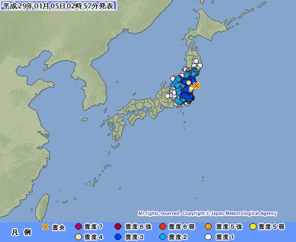 【連発】関東・東北地方で最大震度4の地震発生 M5.8 震源地は福島県沖 深さ約30km