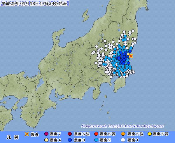 関東地方でM4.2の地震発生 茨城県・東海村だけ震度4 震源地は茨城県沖 深さ約50km