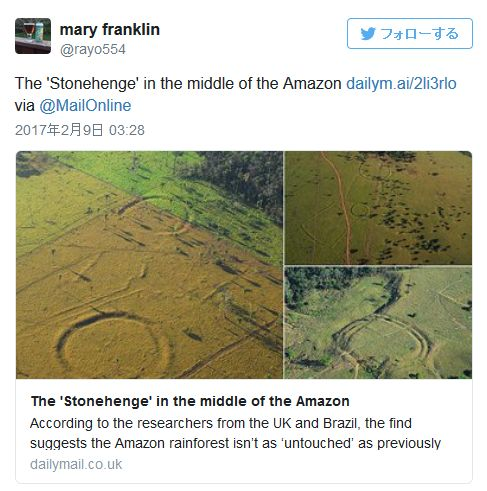 【ストーンヘンジ】アマゾンの熱帯雨林にて「謎の円形溝」を発見!