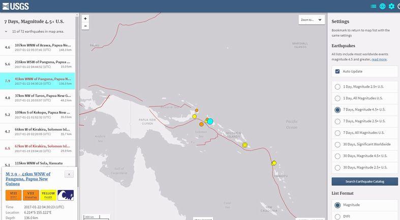 【法則】パプア・ニューギニア付近で「M7.9」の地震発生