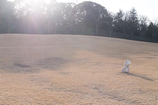 芝生広場と雪だるま