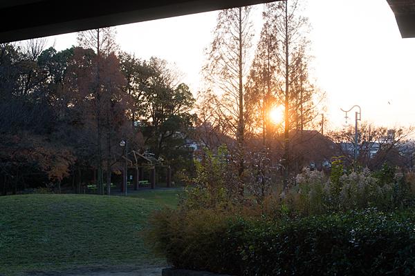 茶屋ヶ坂公園と夕陽
