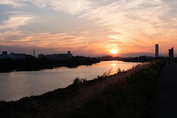庄内川と沈む夕陽