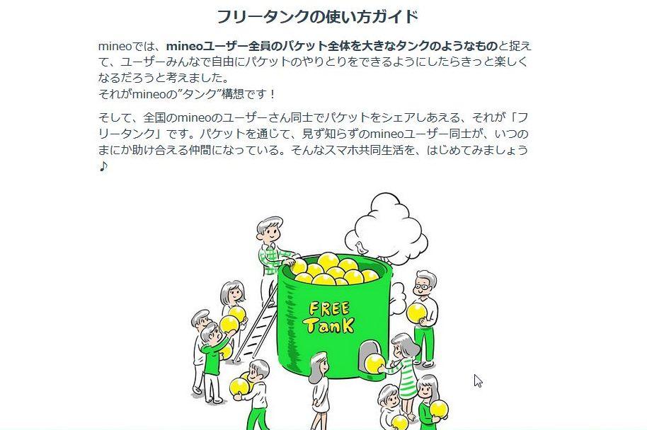 """格安SIM 「mineoマイネオ」の 助け合いサービス """"フリータンク"""""""