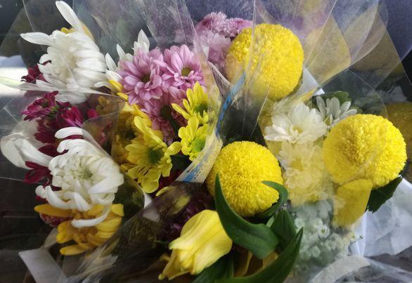 お墓掃除&ホームセンターで買った仏花